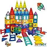 Joyboy 154pcs Mega Set Magnet Building Tiles Vivid Clear Colors Magnetic 3D Building Blocks Construction Playboards, Educational Stem Toy, Great for 3 Year Old & up + Toddler and Kids