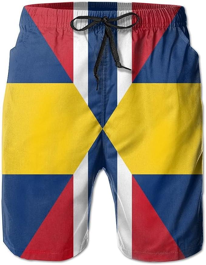 ZPEN Mens Swedish Flag Pants Summer Beach Board Shorts Casual Surf Swim Trunks