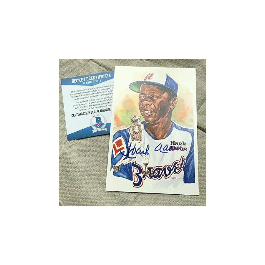Hank Aaron Autographed Signed Perez Steele Postcard Atlanta Braves Bas Beckett Cert