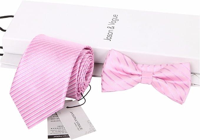 HXCMAN 8cm rosa rayas corbata Conjuntos hombre corbata pajarita ...