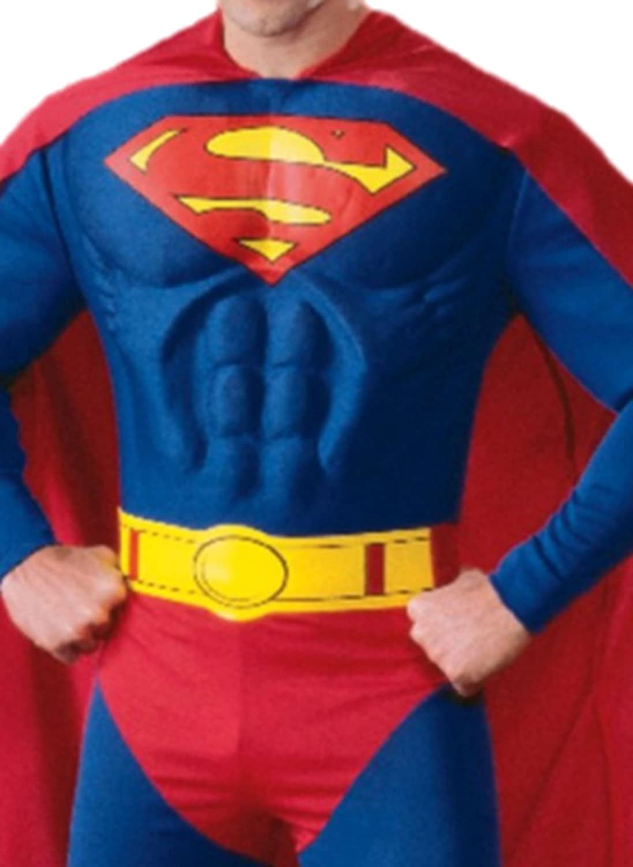 Fancy Ole - Herren Männer Superman Kostüm Superman Männer mit Umhang, Muskel-Jumpsuit, Überziehstiefel und Gürtel, L, Blau e6f62b