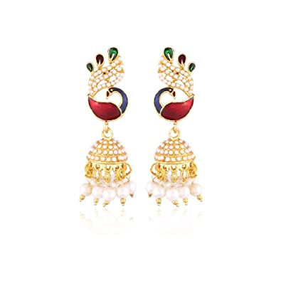 352eb9ac6 Buy I Jewels Traditional Gold Plated Peacock Shaped Pearl Jhumki Earrings  for Women EMS121 Online at Low Prices in India | Amazon Jewellery Store -  Amazon. ...