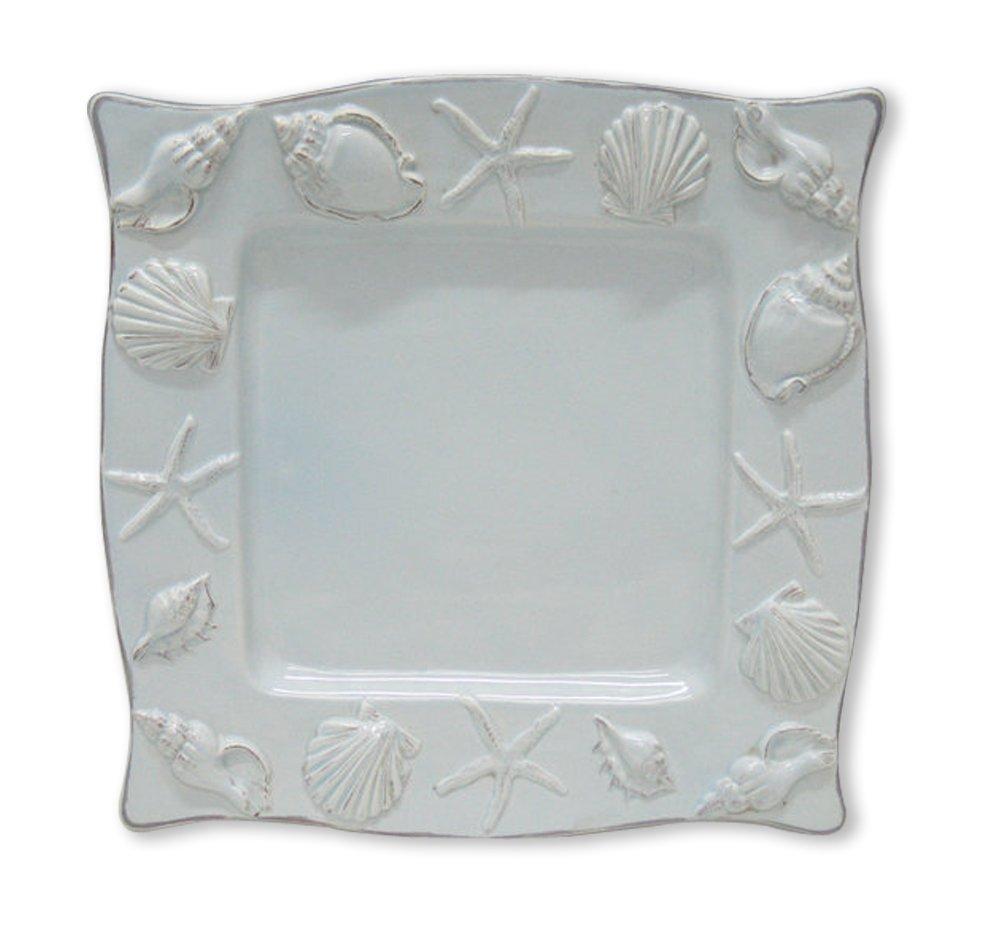 Blue Sky Ceramic Seahorse Square Plate, 11 x 11 x 1'', Blue