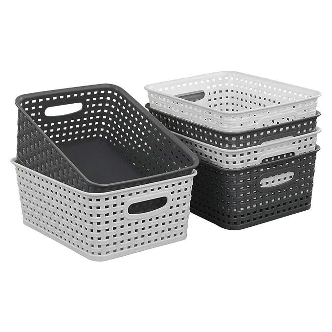 4 Unidades Gris Ikando Cestas Cestos de Almacenamiento Plastico de Rat/án Sint/ético para Cocina Ba/ño Dormitorio