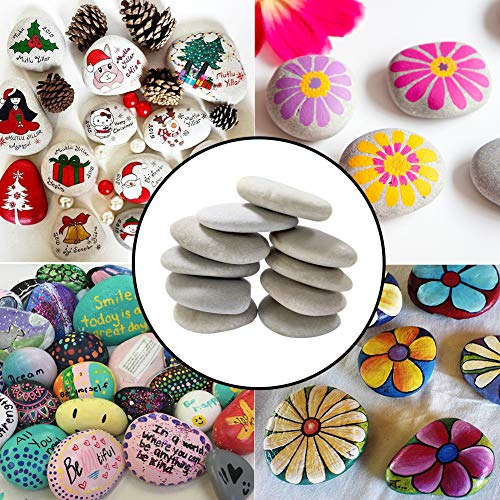 Lifetop 10PCS Painting Rocks, DIY Rocks Flat & Smooth Kindness Rocks for Arts, Crafts, Decoration, Medium Rocks for Painting,Hand Picked for Painting Rocks