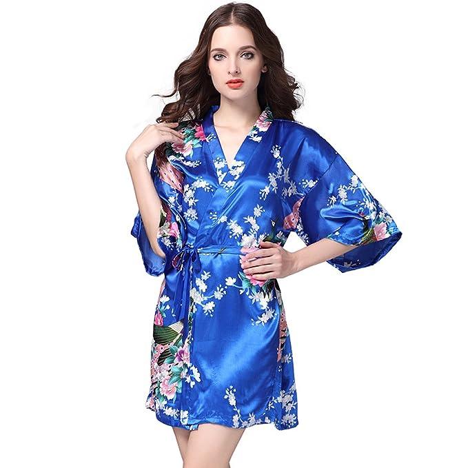 antaina Azul Lencería Pijama Albornoces Kimono Vestido Corto de Satén de Estampado Pavo Real y Flores
