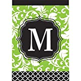 Cheap Monogram M Filigree Green and Black Shield 18 x 13 Rectangular Double Applique Small Garden Flag