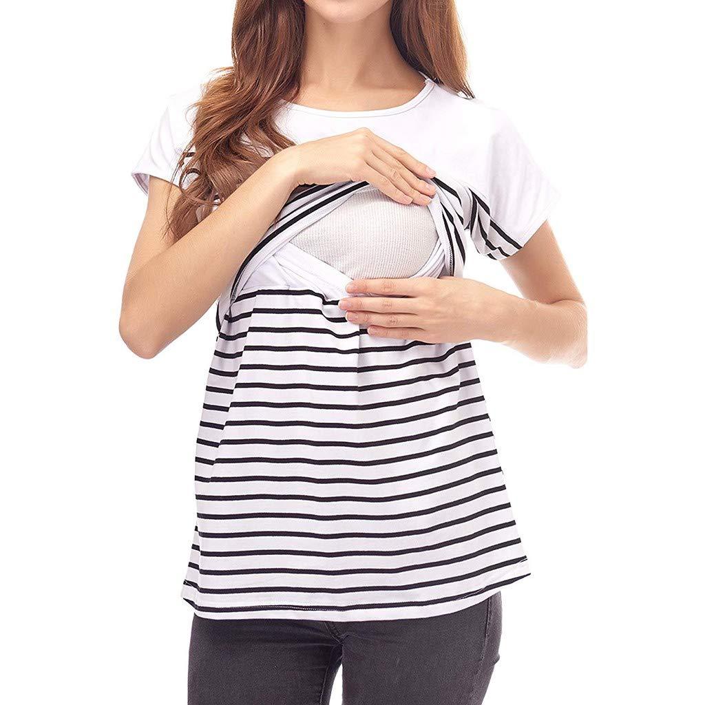 GoodLock Hot!! Women Fashion Maternity Clothes Short Sleeve Stripe Splicing Mom Nursing Baby Tops T-Shirt (White, Large)