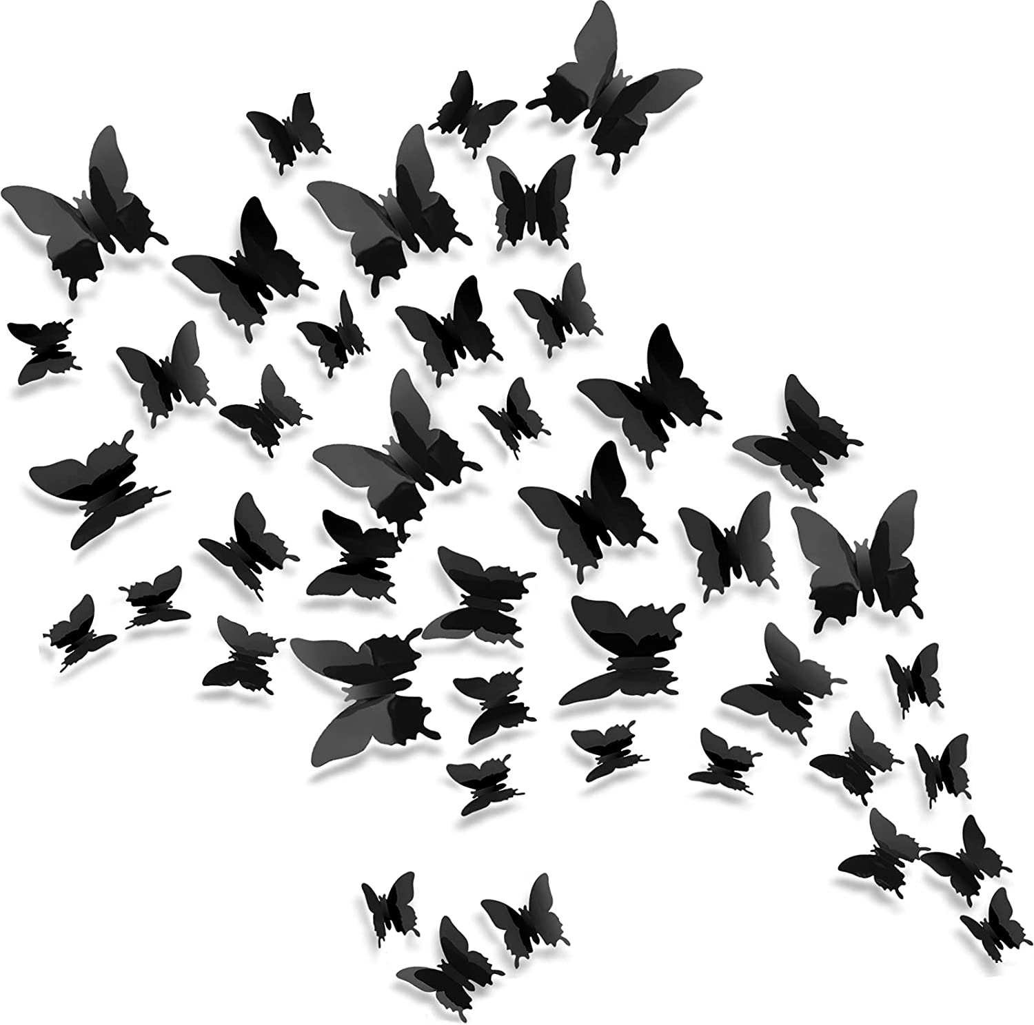 Crosize 72Pcs 3D Butterfly Wall Decor Black, 3 Sizes Removable Girl Room Wall Decor for Nursery Baby Girls Bedroom Home Party Decor