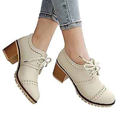 459f9bb34 Susanny Classic Retro Pu Oxfords Brogue Shoes Women's Mid-Heel Wingtip Lace  Up Dress Beige