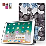 TNP iPad Mini 4 Case (Floral Black) - Ultra Slim Lightweight Folio Smart Cover Stand with Auto Sleep Wake Feature and Hard Rubberized Back for Apple iPad Mini 4 7.9 Inch Tablet 2015 Release