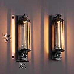 NAVIMC Black Antique Industrial Iron Wall Sconces Light Bedside Wall Lamp Decor Lighting Fixture (wall style)