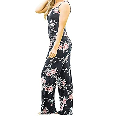 474cfc09c437 SCSAlgin Boho Women Floral Printed Sleeveless Strappy Holiday Long  Playsuits Dress Trouser Wide Leg Pants Rompers