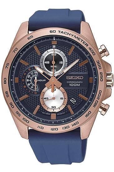 Reloj Seiko Quartz SSB290P1 - Cronógrafo Cuarzo para Hombre en Silicona: Amazon.es: Relojes