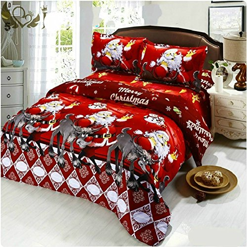 100% micro fiber Cartoon 3D Red Father Christmas Bedding Set 4pcs Bedclothes Duvet Cover Bed Sheet Children Kids Comforter Bed Linen (Twin, Red2)