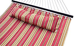 Hammock Quilted Fabric with Pillow Double Size Spreader Bar Heavy Duty Portable Outdoor Camping Hammock For Outdoor Patio Yard (450lbs Capacity)