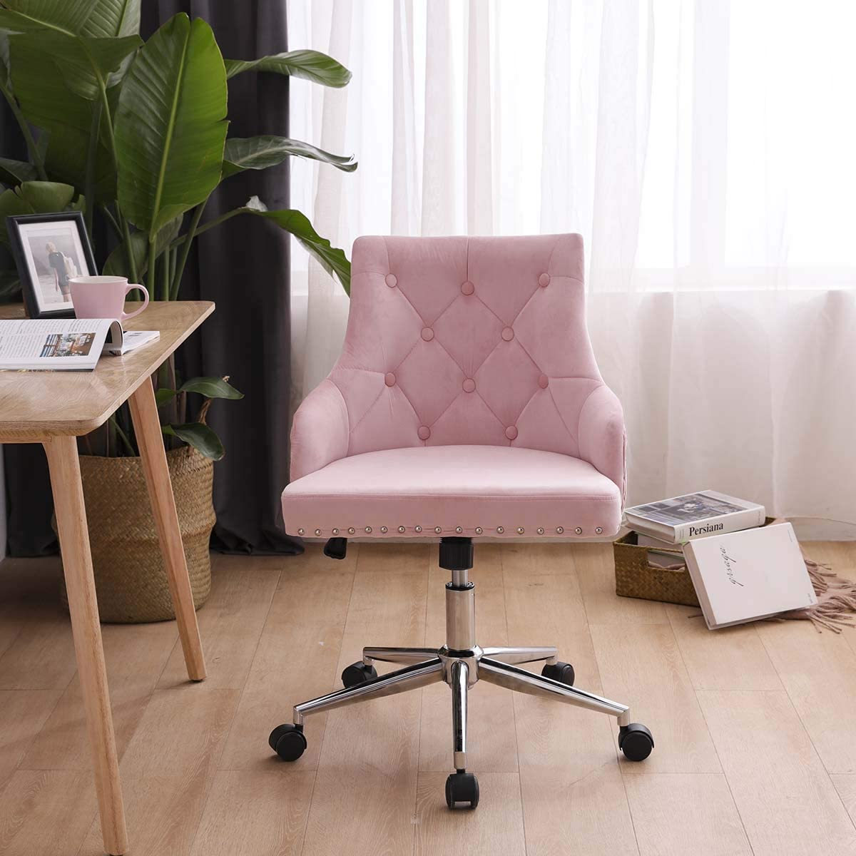 Hironpal Pink Crushed Velvet Fabric Home Office Chair Swivel High Adjustable Computer Desk Chairs Graceful Reception Chairs Amazon Co Uk Kitchen Home