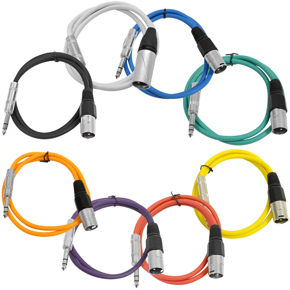Seismic Audio - SATRXL-M3-Multi - 8 Pack of 3 Foot Multi-Color XLR Male to 1/4 Inch TRS Patch Cables 3' Pro Audio Balanced XLR-M to 1/4'' Patch Cords DJ