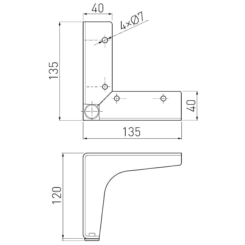 Lot de 4 x Pieds de Meuble VICTOR H 100 mm Chrome poli Socles Pieds de Meubles Pieds pour Armoire Pieds pour Canap/é de SO-TECH
