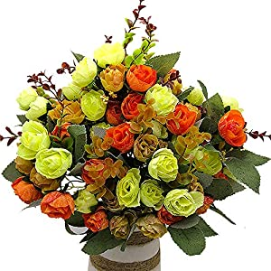 Artificial Fake Flowers Silk Tiny Rose Flowers Wedding Bridal Bouquet Home Decoration,(Pack of 4, Orange) 16