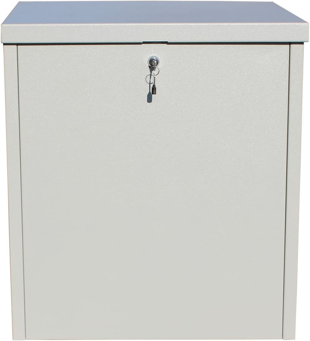 Qualarc PCSDB-LG Parcel Chest Secure Locking Delivery Box Made of Galvanized Steel, Textured Gray, Large