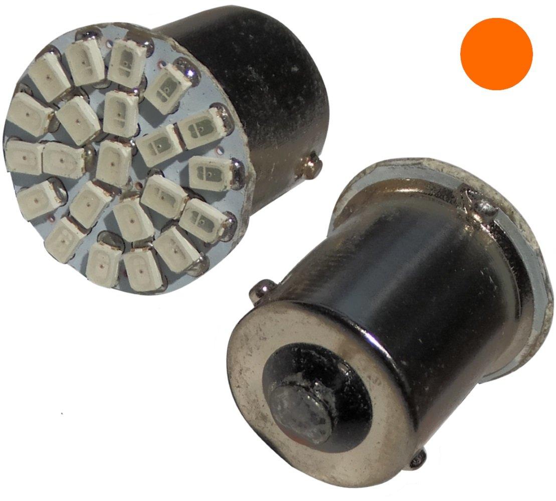 2/x Lampadina P21/W R5/W R10/W 12/V 22LED SMD ambrato Base 1156 Aerzetix