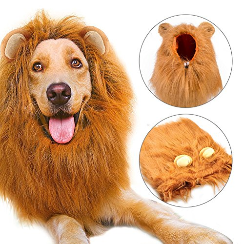 Lion Mane for Dog Pet Wig Costume Cosplay Party Fancy Lion Hair Dog Clothes Dress Dog Costume for Halloween(with Ear) (Little Mermaid Dog Halloween Costume)