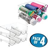 mDesign Stackable Water Bottle Storage Rack for Kitchen Countertops, Cabinet - Holds 12 Bottles, Clear
