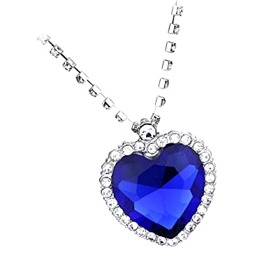 6eb2ed1f Jili Online Fashion Crystal Pendant Necklace Titanic Heart Of The Ocean  Necklace Valentines Gift