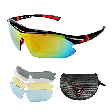 fa15ba2528fa Hootracker Polarized Sports Sunglasses UV400 Unbreakable Sports Glasses  with 5 Changeable Lens for Men or Women