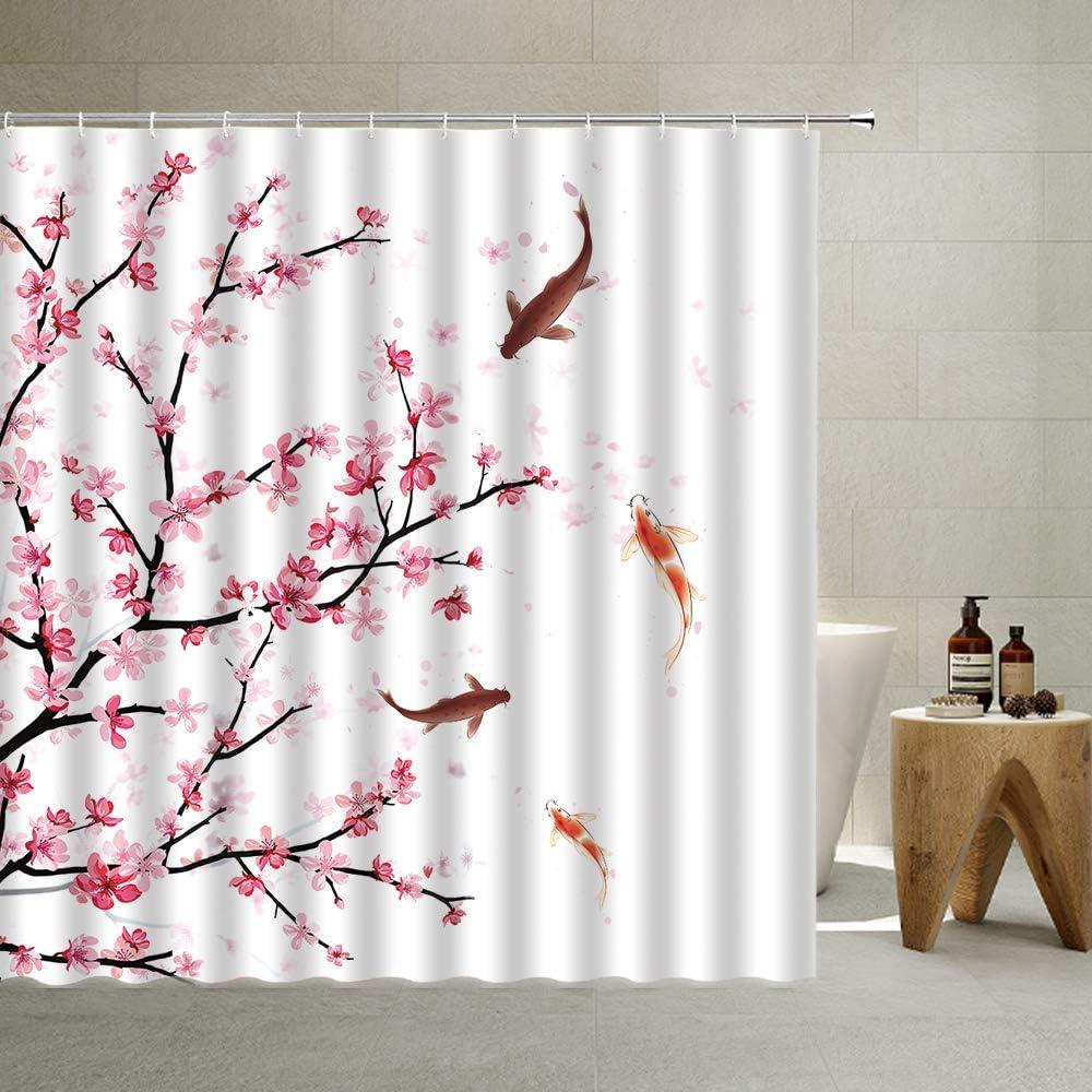 Japanese Shower Curtain, Koi Fish Carp Fish Couple Swimming with Romantic Spring Cherry Blossom Sakura Branch Culture Design, Cloth Fabric Bathroom Decor Set with Hooks, Pink,70X70 Inch