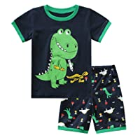 Rishine Little Boys Shorts Sets, Toddler Boy Cartoon T-Shirt Shorts Outfits Set Homewear Pjs 2PCS Pajamas Set