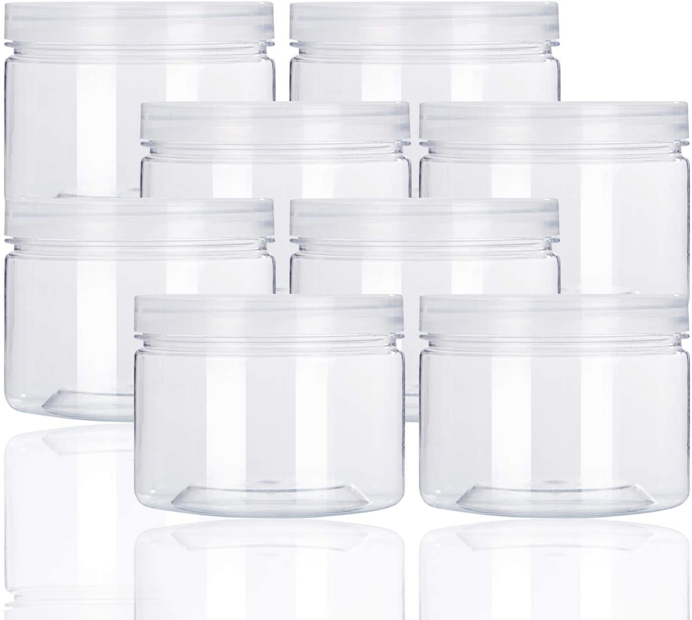 12oz Clear Plastic Storage Jars Containers,8 Pack Refillable Wide-Mouth Plastic Slime Storage Containers for Beauty Products,Kitchen & Household Storage - BPA Free
