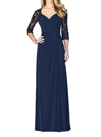 Charmant Damen Dunkel Blau Anmutig Spitze lang Chiffon Abendkleider  Partykleider Abiballkleider Neu -32 Dunkel Blau