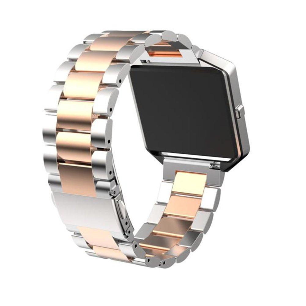 Joberry Watch Band Adjustable, Stainless Steel Classic Retro Wrist Strap Watchband for Fitbit Blaze (Silver)