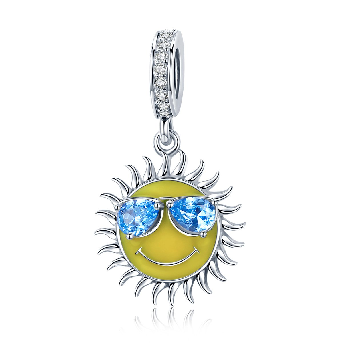 WOSTU Summer Charm 925 Sterling Silver Cool Sun Dangle Charm Vocation Charms for Charm Bracelets