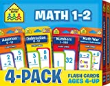 School Zone - Math 1-2 Flash Card 4-Pack - Ages 4 and Up, Addition, Subtraction, Numbers 1-100, and More