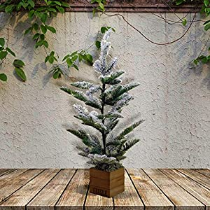 "X-nego 26"" pre-lit Christmas Pine Tree Snowy Cones Battery Operated Warm White LED Lights Windowsills, Mantle Display Table Tops 98"