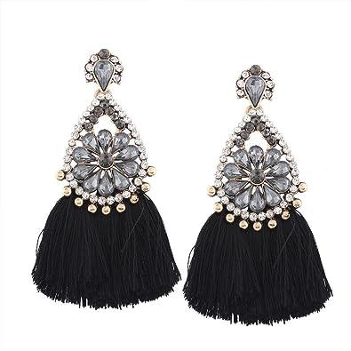 310914b9a2e779 Elogoog Bohemia Long Tassel Earrings Women Crystal Rhinestone Drop Dangle  Earrings (Black)