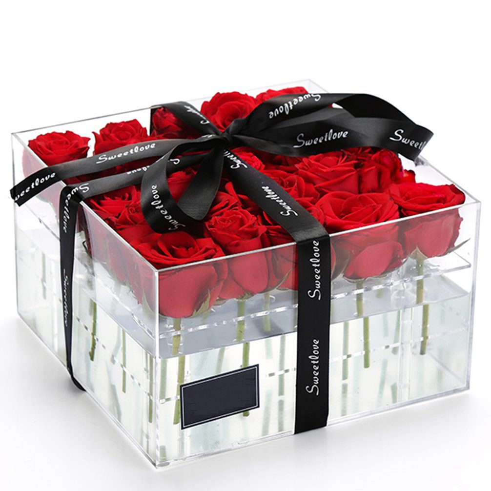 Weiai Clear Acrylic Rose Box Wedding Flower Gift Diagram Rosebox Square Multifunctional Water Holder Pot Makeup Organizer C217 Series 36 Holes