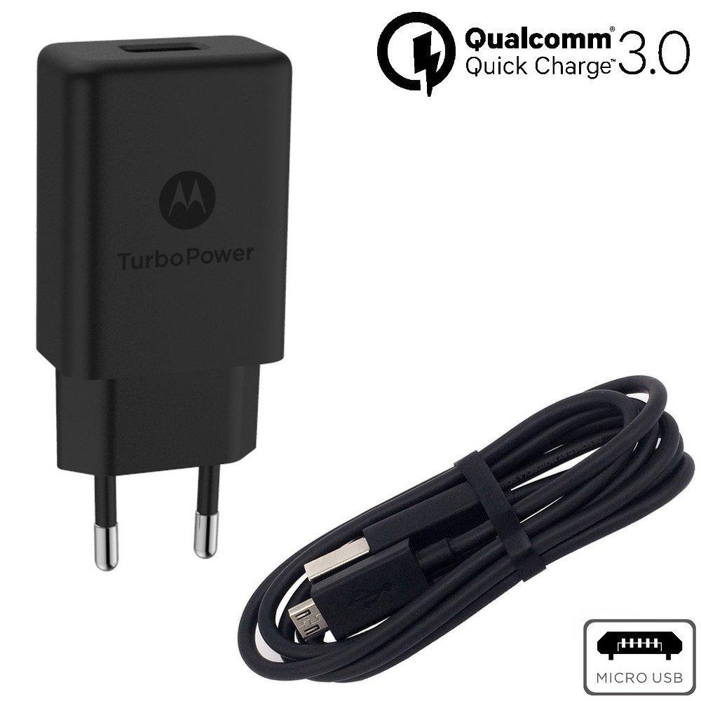 Motorola SPN5971A TurboPower 15 QC3.0 Cargador de Pared con Cable de Datos Micro-USB/Cargador SKN6461A para el Moto G5 Plus (en envase de Venta al público): ...