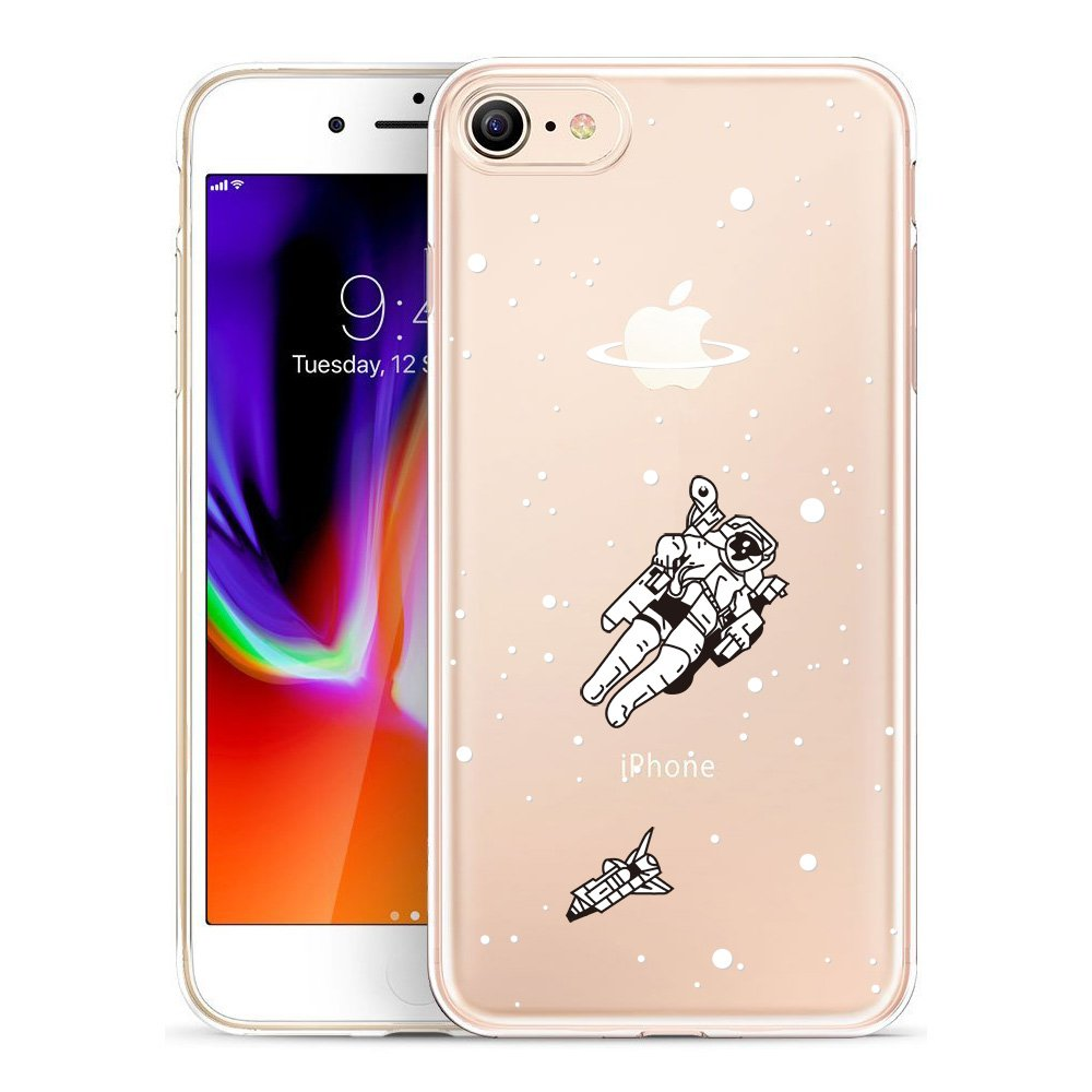 iPhone 8 Case, SwiftBox Clear Flexible TPU Gel IMD Case for iPhone 7 and iPhone 8 with Tempered Glass Screen Protector (Astronaut)