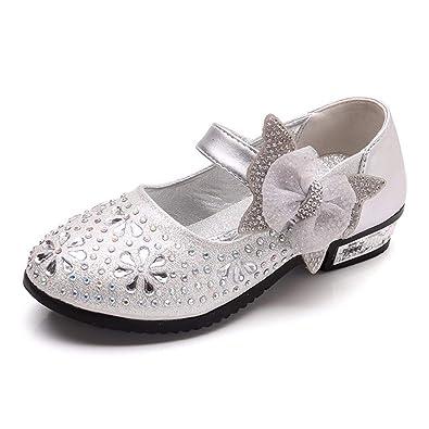 38f8fe3b37173 Filles Ballerines Chaussures de Princesse Etudiants Ornés de Strass Fleurs  Noeud Papillon Sangle de Boucle pour