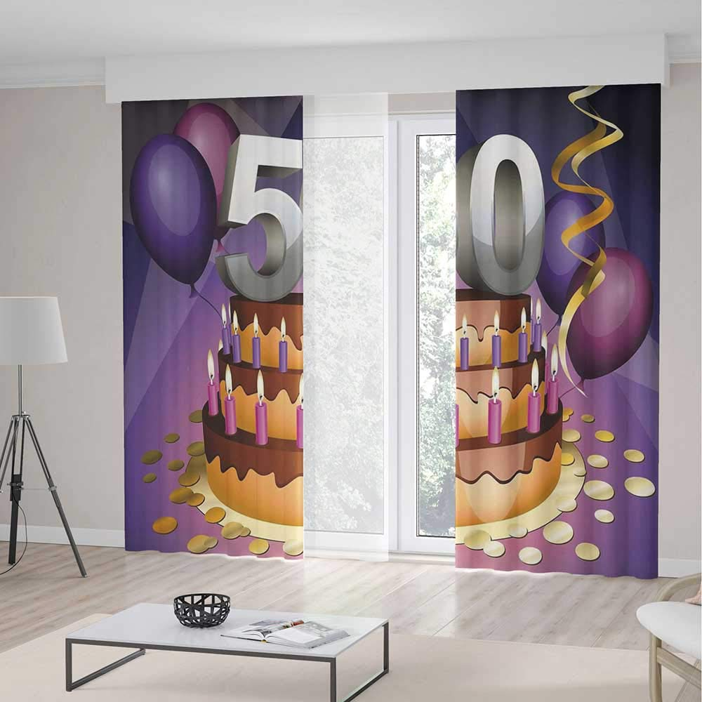 Decor Collection,50th Birthday Decorations,for Bedroom Living Dining Room Kids Youth Room,Creamy Cake with Many Candles and Numbers Balloons Ribbons2 Panel Set,103W X 94L Inches