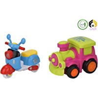 Aarushi Friction Powered Cars Push and Go Scooter, Train Vehicles Toys Gift for Kids (Pack of 2)