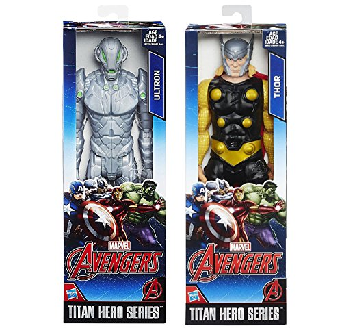 Marvel Titan Hero Series Thor (Blue Suit) with Hammer VS Ultron Action Figure Avengers Set