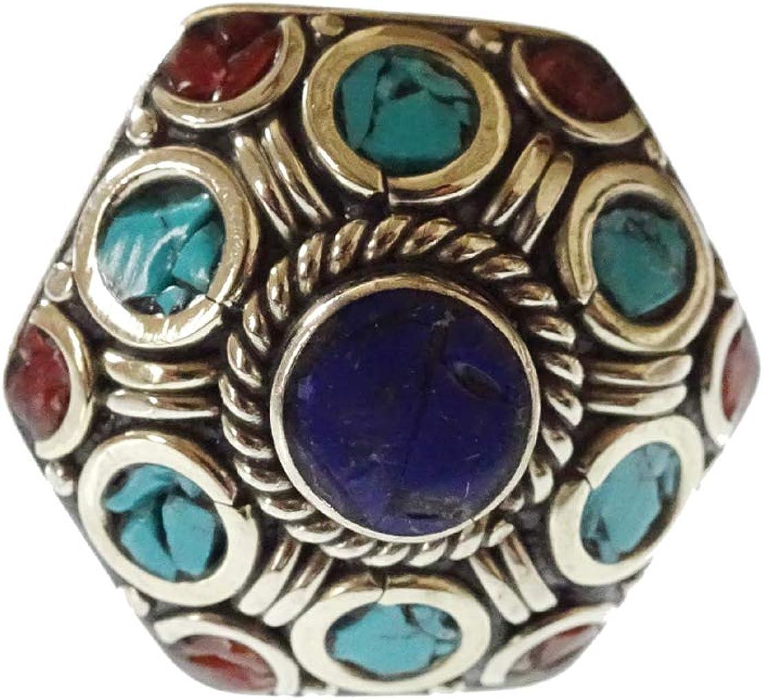 Anello regolabile en argento fatto mano per donne Ragazza Uomini, Pietra preziosa Corallo Turchese Lapis-Lazuli Anello Etnico Tribal Estile Unico Diseño Boho tibetano hippie Osidizado Anelli Gioielli