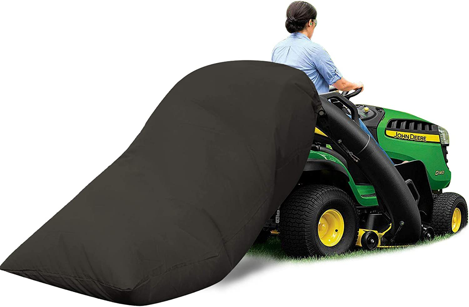 SurmountWay Lawn Tractor Leaf Bag-54 Cubic Foot Standard Leaf Bag, Heavy Duty Material – Fast & Easy Leaf Collection,Reusable Collecting Leaves Waste Bag Fits All Lawn Tractors(Black)