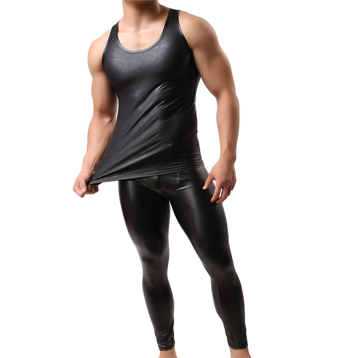 YFD Men's Sexy Fashion Vest Sleeveless Underwear Faux Leather Tank Top Undershirt C458