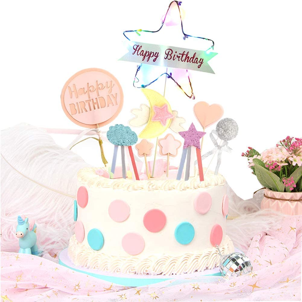 Awesome Amazon Com Asylove Colorful Birthday Cake Toppers Led Star Personalised Birthday Cards Veneteletsinfo